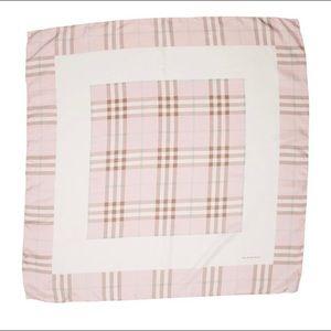 Burberry Pink Plaid Silk Scarf